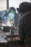 Industrial workers welding Stock Photo