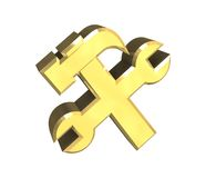 Industrial working symbol in gold (3d). Industrial working symbol in gold (3d made Royalty Free Stock Images