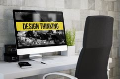 Industrial workspace design thinking. 3d rendering of industrial workspace showing design thinking on computer screen. All screen graphics are made up Royalty Free Stock Photo
