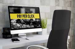 Industrial workspace pay per click. 3d rendering of industrial workspace showing pay per click on computer screen. All screen graphics are made up royalty free stock photo