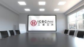 Industrial y Commercial Bank del logotipo de China ICBC en la pantalla en una sala de reunión Representación editorial 3D Fotografía de archivo libre de regalías