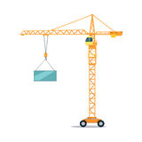 Industrial Yellow Crane Lifting Heavy Glass Element Royalty Free Stock Images