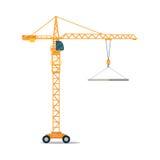 Industrial Yellow Crane Lifting Heavy Glass Elemet Stock Photo