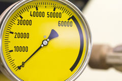 Industrial Yellow Pressure Gauge Royalty Free Stock Photo