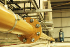 Industrial Yellow Steel Gas Pipe Royalty Free Stock Photos