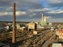Industrial zone. Old ndustrial zone with coal power plant stock photos
