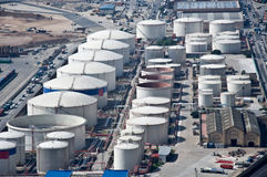 Industrial zone. Aerial view of petrol industrial zone stock image