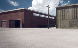 Industrial zone. 3d render of industrial storehouses outdoor Stock Photography