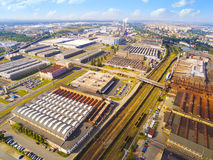 Industrial zone. Aerial view to industrial zone and technology park on Karlov suburb of Pilsen city in Czech Republic, Europe. European industry from above stock image