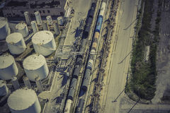 Industrial zone aerial view. Industrial zone with train aerial view Stock Photo