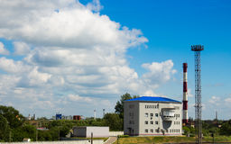 Industrial zone. On the background of blue sky Royalty Free Stock Photo
