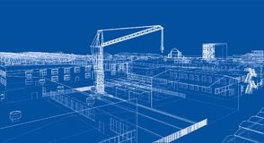Industrial zone with buildings and cranes. 3d illustration Royalty Free Stock Image