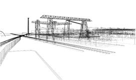 Industrial zone with buildings and cranes. Vector rendering of 3d Royalty Free Stock Photo