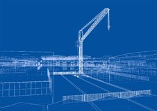 Industrial zone with buildings and cranes. Vector rendering of 3d Royalty Free Stock Image