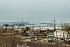 Industrial zone of a coal mine. View of the coal mine industrial site Stock Photos
