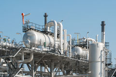 Industrial zone,The equipment of oil refining,Close-up of indust Royalty Free Stock Photography