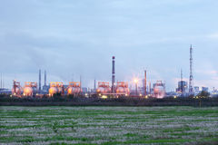 Industrial zone with factories and pipes with smoke Royalty Free Stock Image