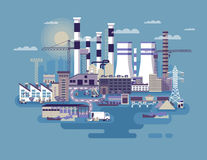 Industrial zone with factories Stock Images
