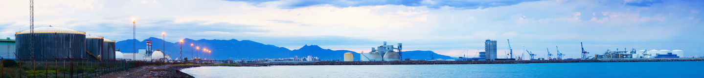 Industrial zone on  Mediterranean coast. Castellon de la Plana Royalty Free Stock Photography