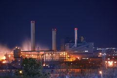 Industrial Zone at Night Stock Photos