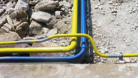 Industrial zone. Overground installation, pipeline for transmiss Royalty Free Stock Photography