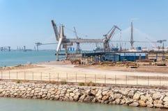 Industrial zone of port in Cadiz Stock Photo