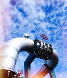 Industrial zone, Steel equipment against blue sky Royalty Free Stock Photography