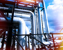 Industrial zone, Steel equipment against blue sky Royalty Free Stock Photo