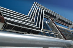 Industrial zone, Steel pipe-lines Royalty Free Stock Image