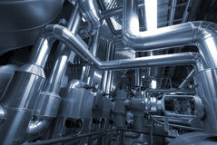Industrial zone, Steel pipelines in blue tones Royalty Free Stock Photography