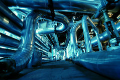 Industrial zone, Steel pipelines in blue tones Stock Photography