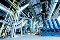 Industrial Zone Steel Pipelines Blue Tones Stock Photo