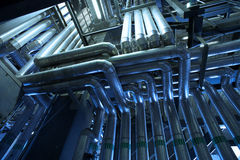 Industrial zone, Steel pipelines Royalty Free Stock Photo