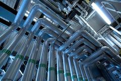 Industrial zone, Steel pipelines Royalty Free Stock Image