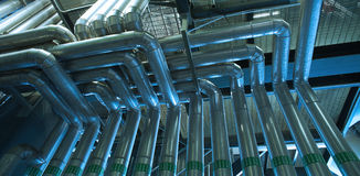 Industrial zone, Steel pipelines Stock Images