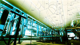 Industrial zone, Steel pipelines Royalty Free Stock Photography