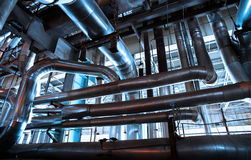 Industrial zone, Steel pipelines Royalty Free Stock Images