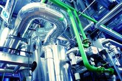 Industrial zone, Steel pipelines in blue tones Stock Photos