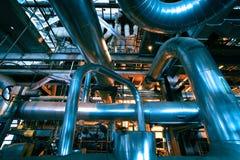 Industrial zone, Steel pipelines in blue tones Royalty Free Stock Photo