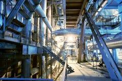 Industrial zone, Steel pipelines in blue tones Stock Photography
