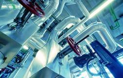 Industrial zone, Steel pipelines in blue tones Royalty Free Stock Image