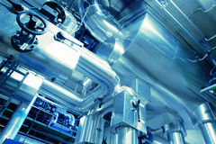 Industrial zone, Steel pipelines in blue tones Stock Image