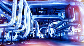 Industrial zone, Steel pipelines and cables Stock Images
