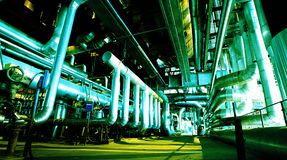 Industrial zone, Steel pipelines and cables Royalty Free Stock Photography