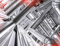 Industrial zone, Steel pipelines and cables Stock Image