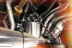 Industrial zone, Steel pipelines and cables Stock Photos