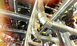 Industrial zone, Steel pipelines and cables Stock Photography