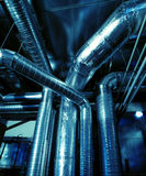 Industrial zone, Steel pipelines and ducts Royalty Free Stock Photos