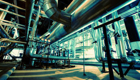 Industrial zone, Steel pipelines and ducts Stock Photo