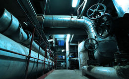 Industrial zone, Steel pipelines and ducts Royalty Free Stock Images